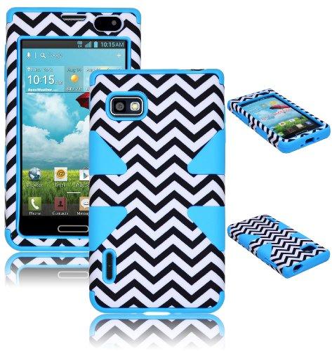 Bastex Heavy Duty Hybrid Case For LG Optimus F3 ls720 MS659 Baby Blue Silicone / White & Black Chevron Cover