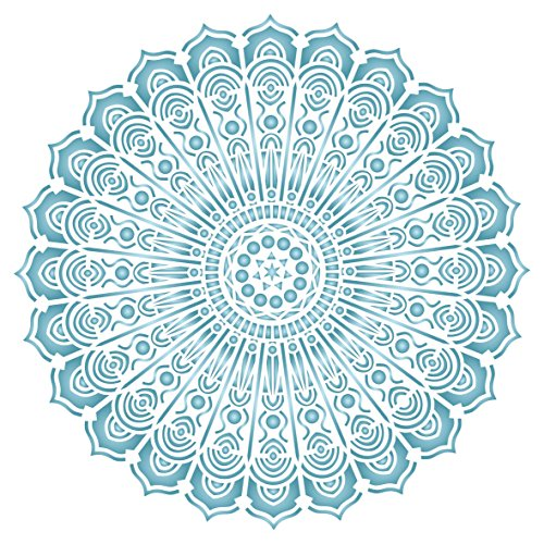 Indian Mandala Stencil - (size 6.5w x 6.5h) Reusable Wall Stencils for Painting - Best Quality Decor Ideas - Use on Walls, Floors, Fabrics, Glass, Wood, and More