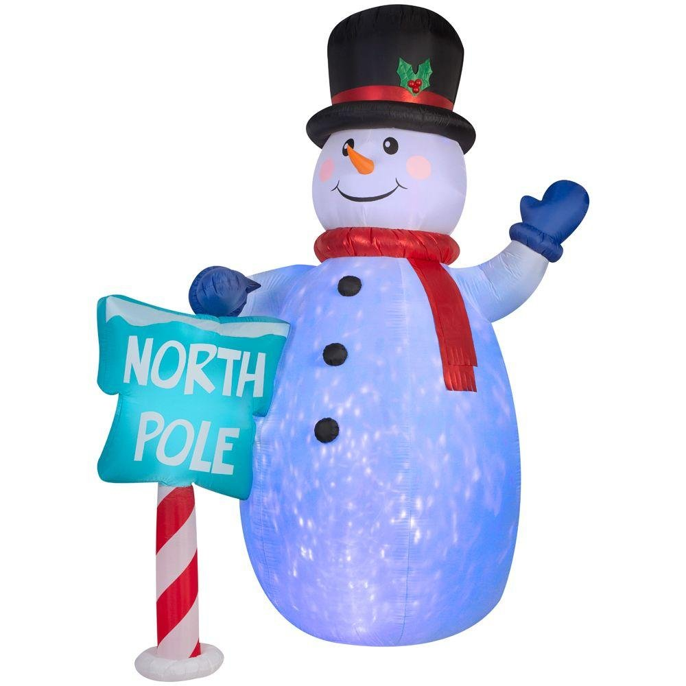 Home Accents Holiday 85.83 in. W x 70.08 in. D x 120.08 in. H Lighted Inflatable Snowman (Blue/White)