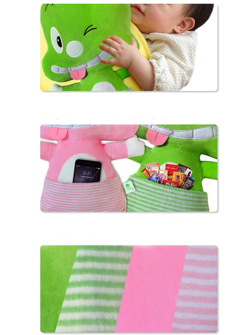 Dooly the Little Dinosaur Car Seat Doll Seat Pillow Travel Pillow Seat Strap Belt for Kids Pink