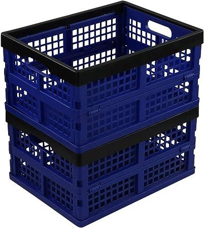 Neadas Caja Cesto Plegable de Almacenamiento Plastico, 2 Paquetes de Color Azul Profundo y Negro: Amazon.es: Hogar