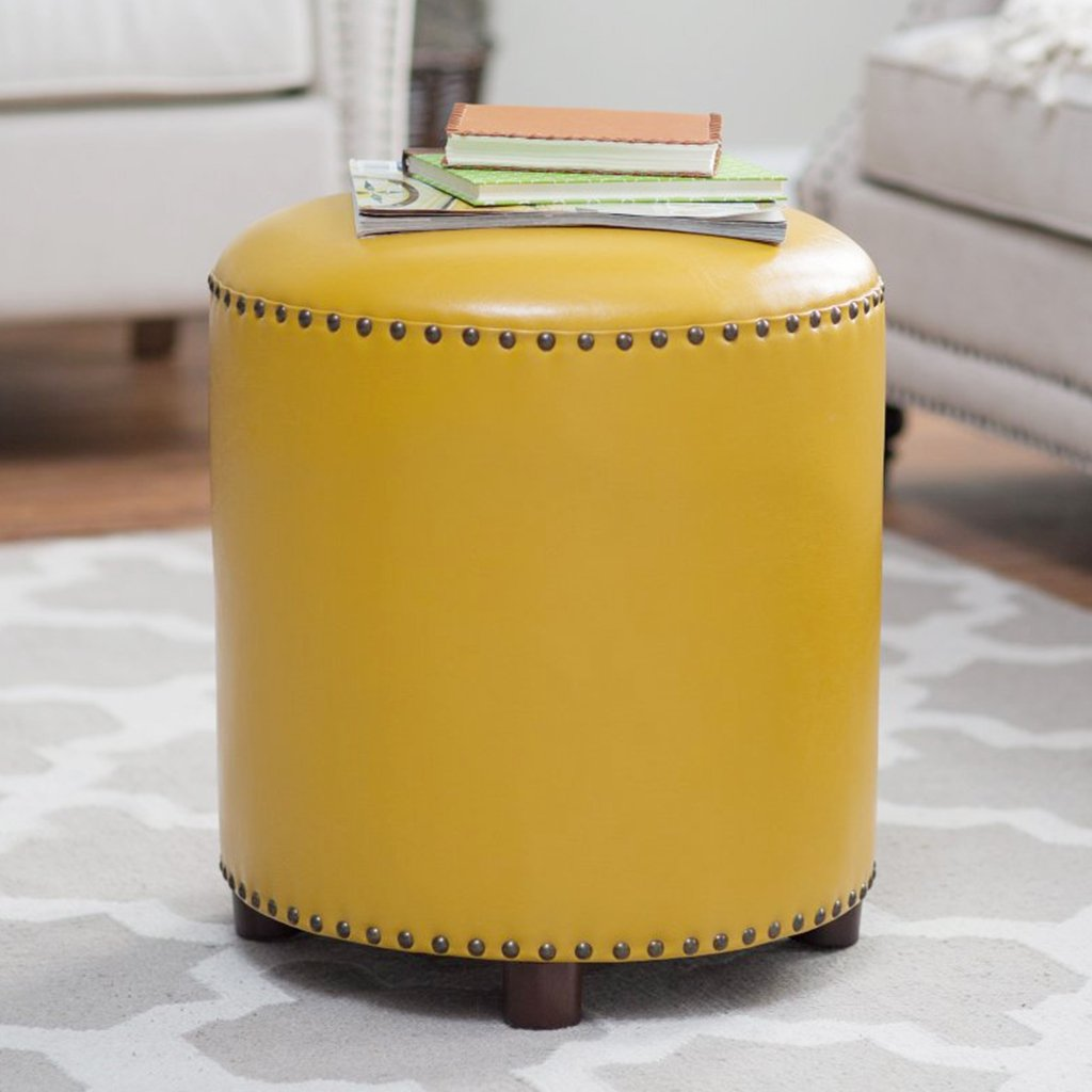 UUSSHOP Wood Seating Footstool Footrest Ottoman Pouffe Round Chair Foot Stool with Luxury Oil Wax Leather Cover, Handcrafted Rivets Edge-Sealing (Yellow)