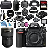 Nikon D750 DSLR Camera 1543 AF-S 16-35mm f/4G ED VR Lens 2182 + 77mm 3 Piece Filter Kit + Carrying Case + 256GB SDXC Card + Card Reader + Professional 160 LED Video Light Studio Series Bundle