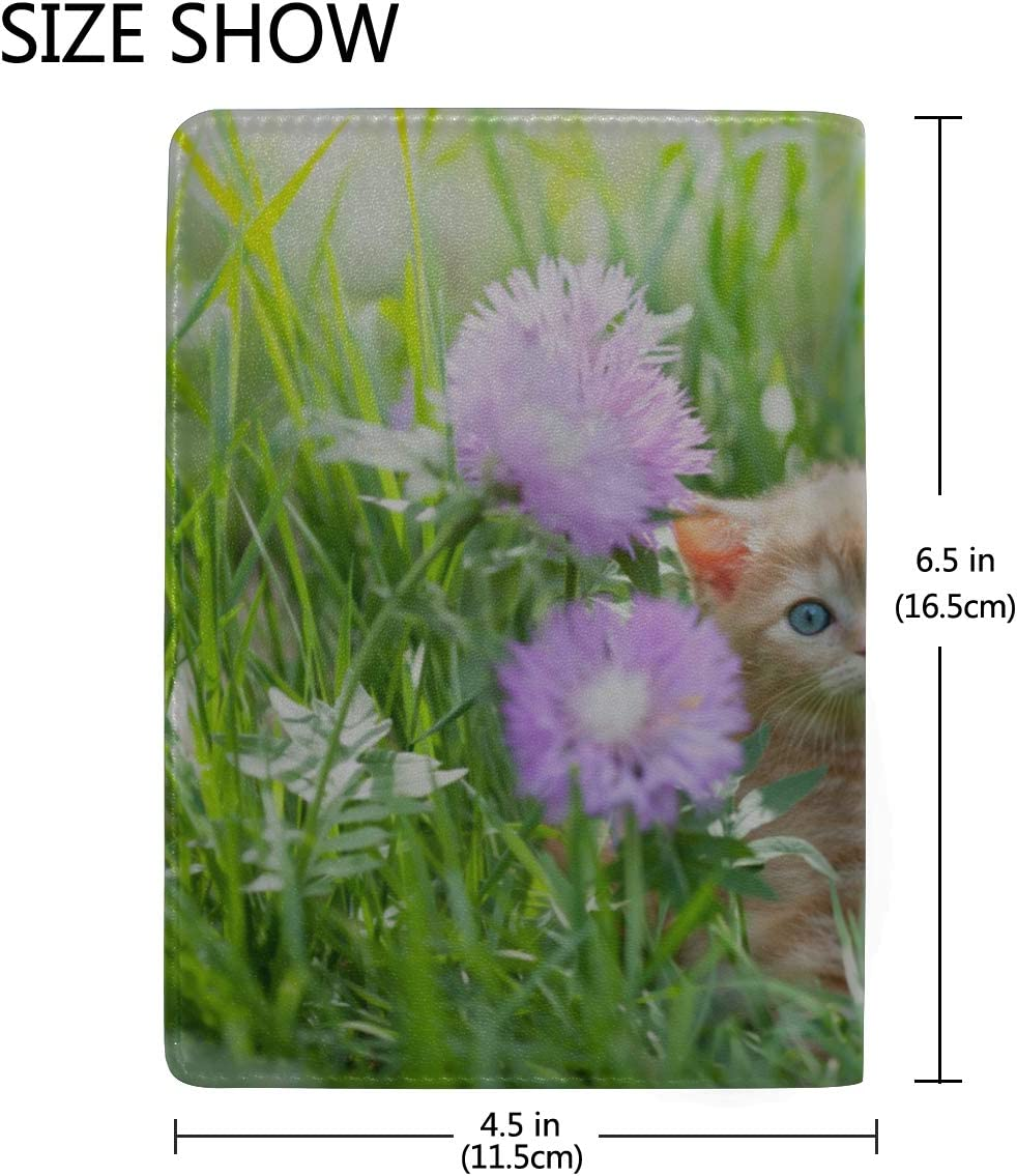 Cute Kitten Cat Sitting In Flowers Blocking Print Passport Holder Cover Case Travel Luggage Passport Wallet Card Holder Made With Leather For Men Women Kids Family