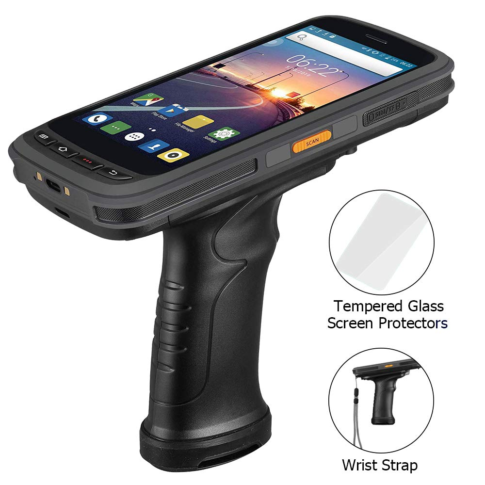 Android Barcode Scanner Pistol Grip MUNBYN with Zebra 2D/1D/QR Barcode Reader, 5.2'' IPS FHD Touch Screen, IP65 Rugged Data Terminal, 4G Mobile Computer, SDK Avaliable for Warehouse Stock Inventory