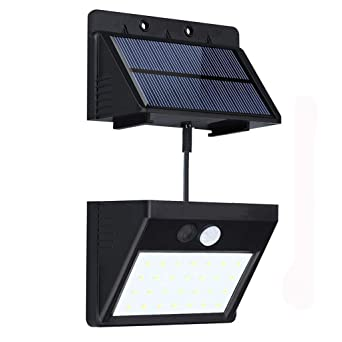 28 LED Sensor de movimiento solar de luz con 3 modos inteligentes, panel solar separable, ...