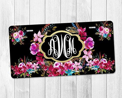 Personalized Monogram Aluminum License Plate with Gold Frame and Boho Floral Wreath over Black Background