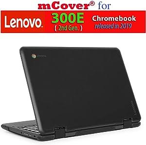 """mCover Hard Shell Case for 2019 11.6"""" Lenovo 300E (2nd Gen.) 2-in-1 Chromebook Laptop (NOT Fitting Lenovo 300E Windows & N21 / N22 / N23 /100E / 500E Chromebook) (Black)"""