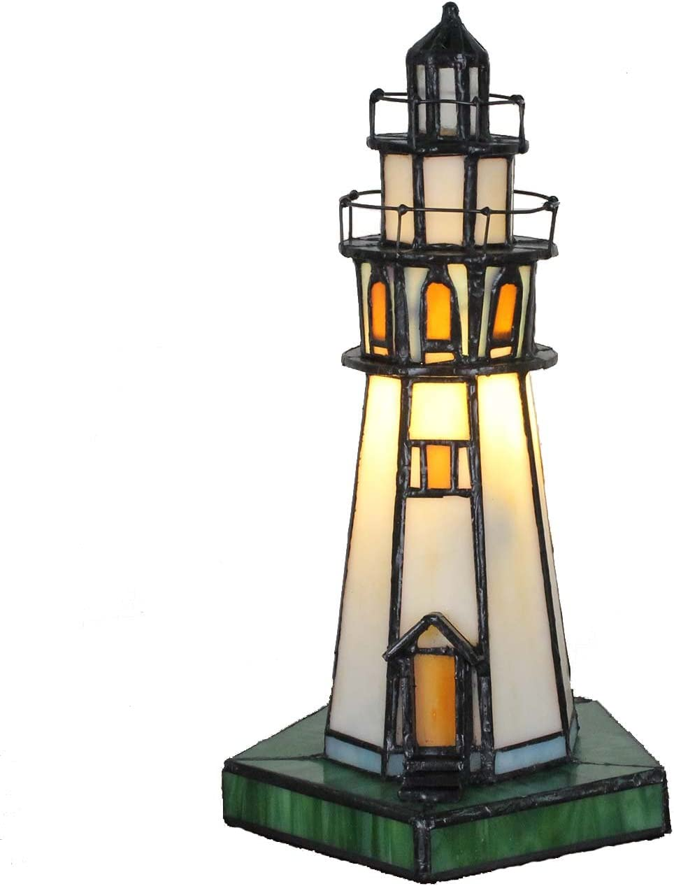 Bieye L10221 Lighthouse 10 inch Tiffany Style Stained Glass Accent Table Lamp, Night Light