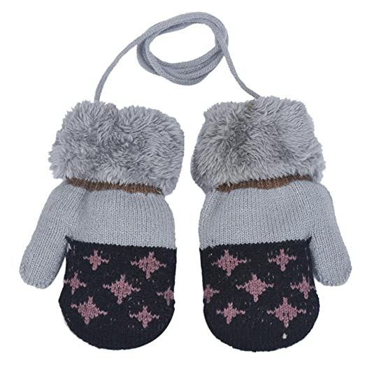 60062eef7 Image Unavailable. Image not available for. Color: Toddler Kids Warm Knit  Mittens Boys Girls Winter Gloves with Strings ...