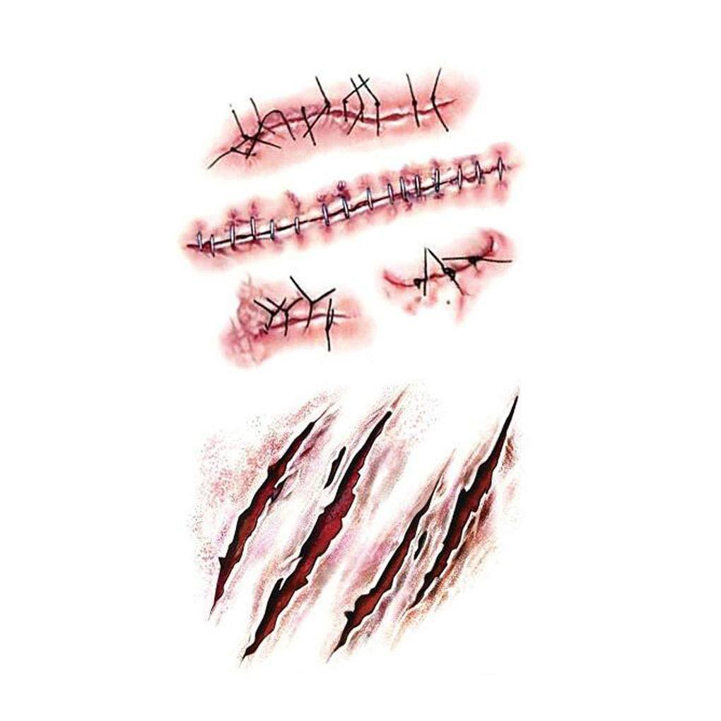 kongnijiwa Maquillaje de Vestuario Tatuajes 3D Cicatrices Zombi ...