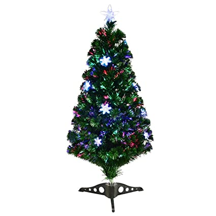 goplus 3ft pre lit fiber optic artificial christmas tree with multicolor led lights and snowflakes - 3 Ft Pre Lit Christmas Tree
