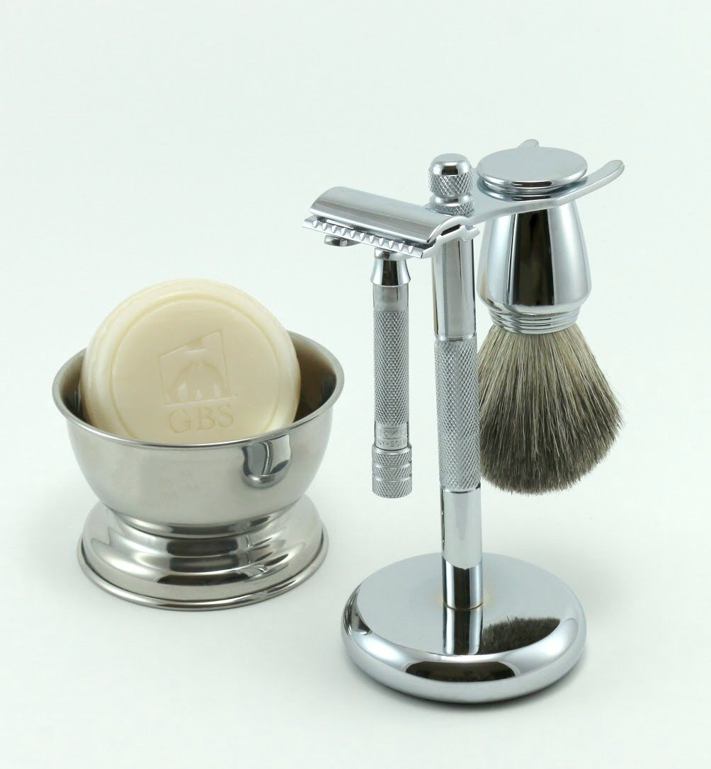 Shaving Gift Set 33C Short Handle Safety Razor with Pure Badger Bristle Brush Shaving Stand and Bowl GBS Shave Soap Included! by G.B.S