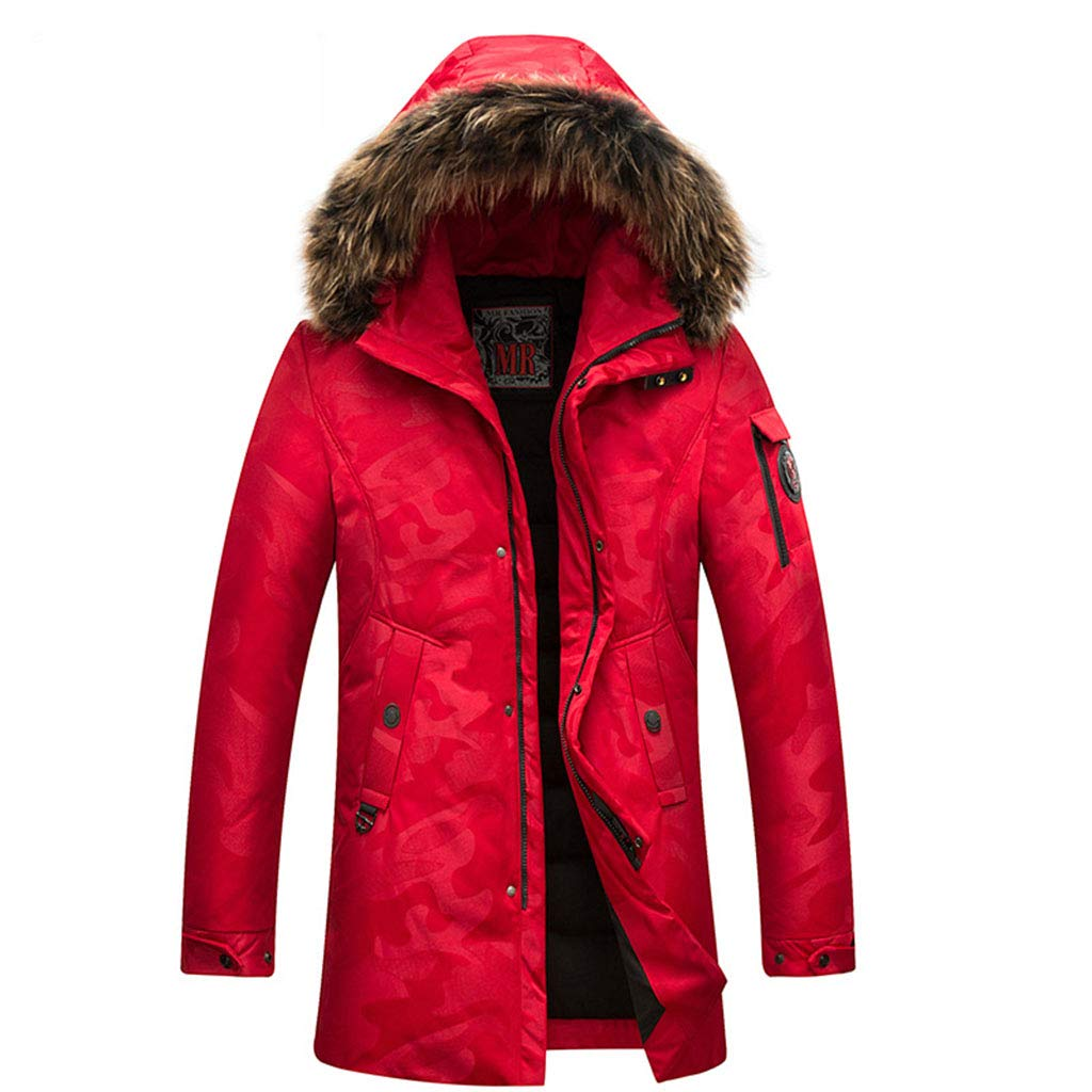 RED L Hyvaluable Boys Jackets Down Jacket Men's Hooded Fur Collar Thick Warm White Duck Down Winter Youth Middle-aged Long Down Jacket