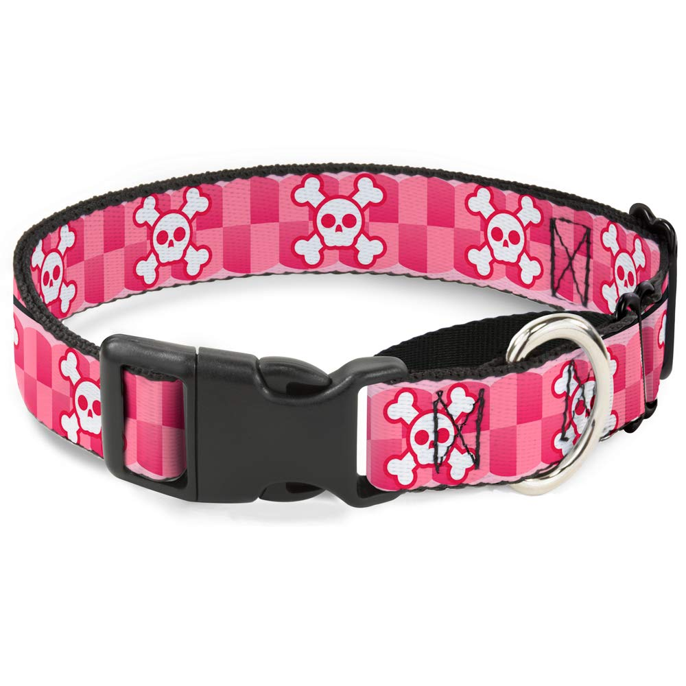 1\ Buckle-Down Martingale Dog Collar Cute Skulls w Checkers Pinks White 1  Wide Fits 11-17  Neck Size Medium