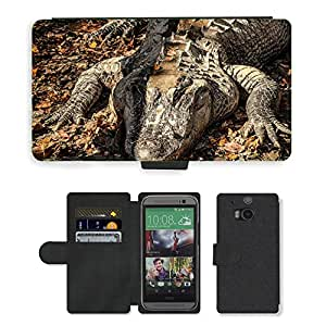 Hot Style Cell Phone Card Slot PU Leather Wallet Case // M00110353 American Alligator Alligator // HTC One M8