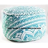 """Indian Green Ombre Mandala Ottoman Pouf , Indian Living Room Pouf, Foot Stool,By """"Handicraft-Palace"""""""