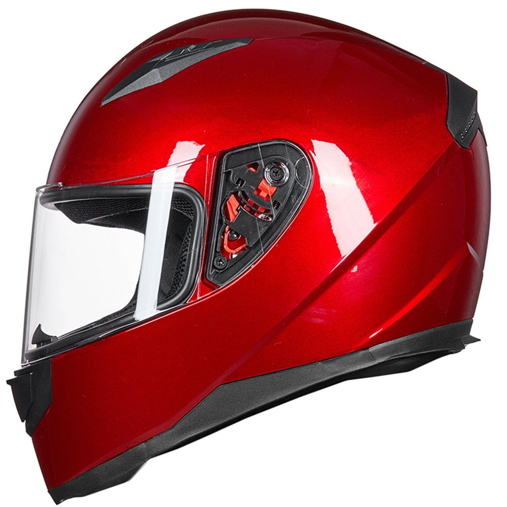 ILM Full Face Motorcycle Street Bike Helmet with Removable Winter Neck Scarf + 2 Visors DOT (L, Red) by ILM (Image #2)