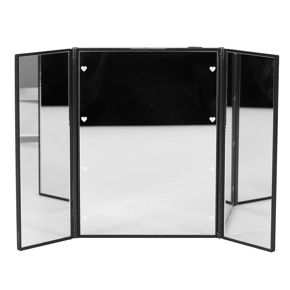 Tri-sided Foldable 8 Led Brightness Lights Desktop Table Makeup Cosmetic Mirror (Color:Black)