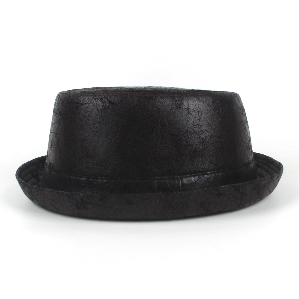 LL Mens Black Leather Pork Pie Fedora Hat Men Boater Flat Top Hat for Gentleman Bowler Gambler Top Hat Big Size Dropshipping