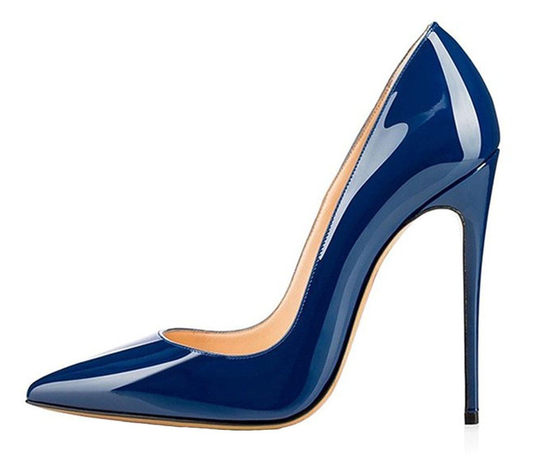 Emiki - Zapatos de tacón con punta cerrada Mujer EU44=28.2cm|Blau Lackleder