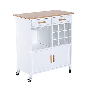 Homcom Küchenwagen Küchentrolley Beistellwagen Servierwagen