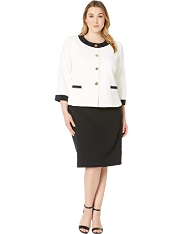 1279d78c4e82 Tahari by ASL Women's Plus Size Crepe Framed Skirt Suit with Gold Finish