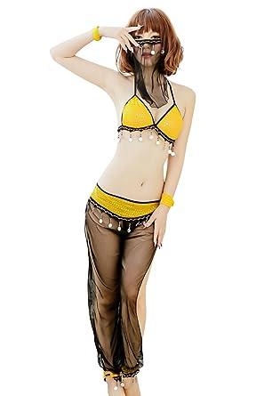 Shangrui Mujer Árabe Chica Enmascarada Belly Dance Dress Ropa de Baile de Tubo Ropa de la Danza India Uniformes Juego W196: Amazon.es: Ropa y accesorios