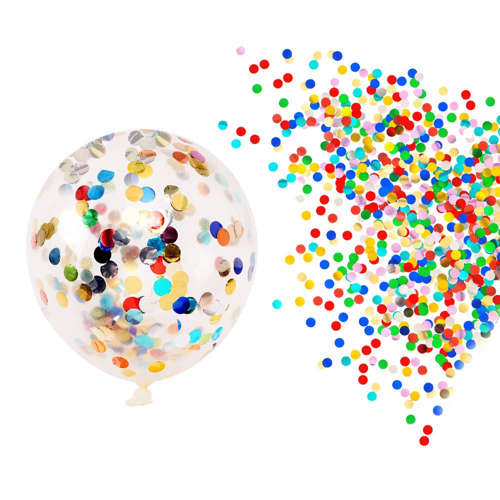 ChristmasEXP 12 Pieces of Confetti Balloons, 12 inch Party Balloons with Confetti dot Ornaments Wedding Decorations