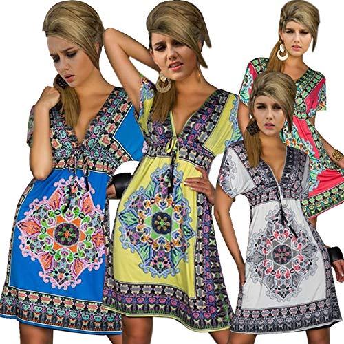Bohemian Dress - Fashion Retro 1960s 1970s Vintage Paisley Print V Neck Hippie Bohemian Summer Dress Women Beach - Girl Girls Graduations 2019 Belt Sneakers 2019 Sexy Kids Dress Shoes Summe