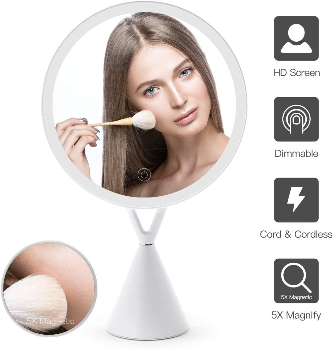 FASCINATE Magnetic Lighted Makeup Mirror, Dimmable Natural Light Vanity Makeup Mirror 45 Rotable Light Up Mirror 30 LED Touch Screen with Mirror 5X Magnification Round Cord Cordless White