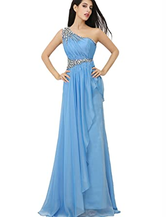 Clearbridal Womens Sky Blue Chiffon Long Prom Evening Dress One Shoulder Bridesmaid Gown with Crystal XU003