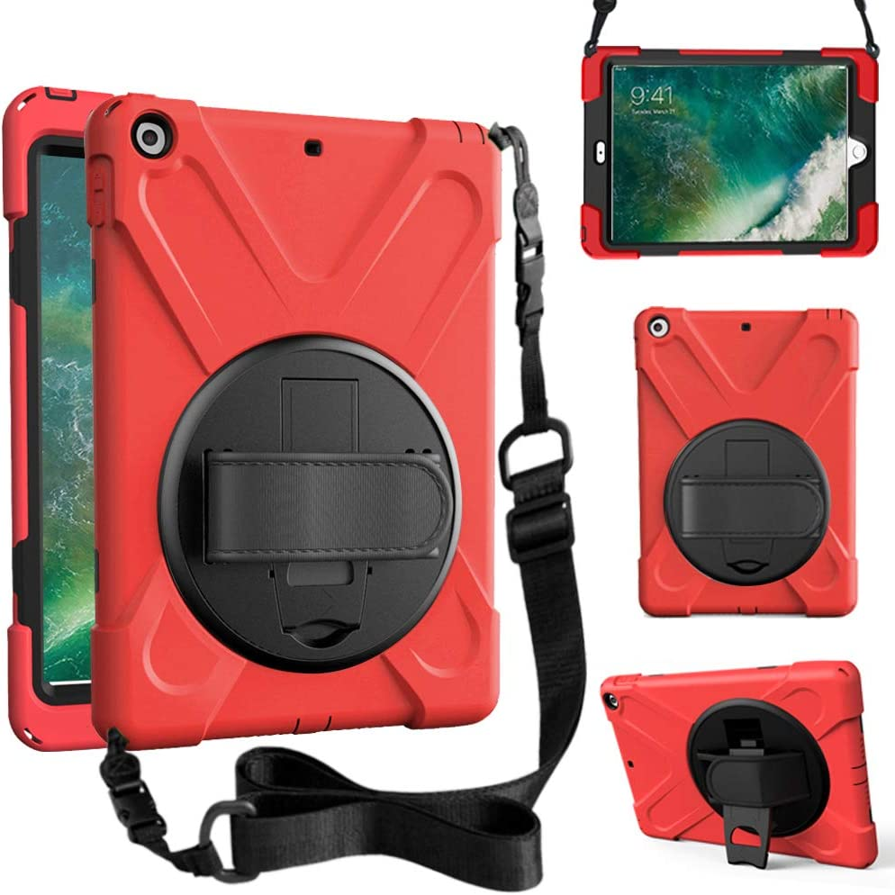 ZenRich New iPad 9.7 2017 2018 Case,360 Degree Rotatable with Kickstand,Hand Strap and Shoulder Strap case, zenrich 3 Layer Hybrid Heavy Duty Shockproof case for iPad 9.7 5th/6th Generation (Red)
