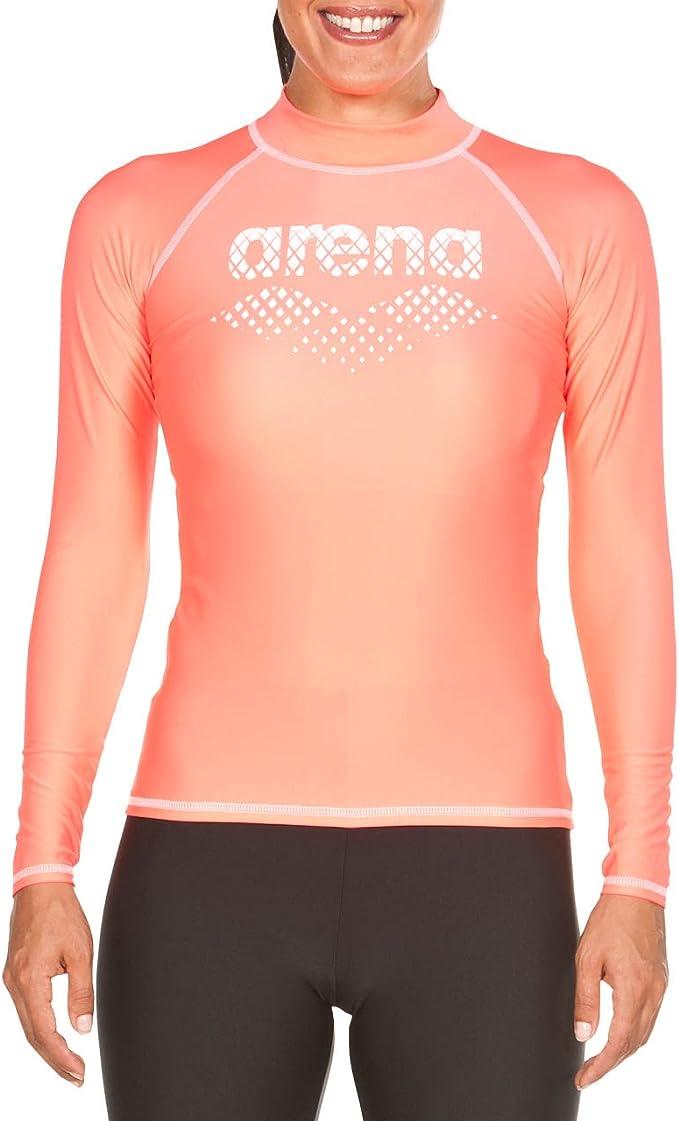 Arena Damen Badeshirt UV-Shirt Surfshirt Langarmshirt Rash Vest L//S Allover