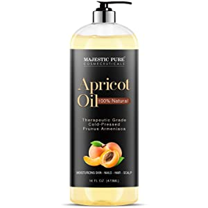 Majestic Pure Apricot Oil, 100% Pure and Natural, Cold-Pressed, Apricot Kernel Oil, Moisturizing, for Skin Care, Massage, Hair Care, and to Dilute Essential Oils, 16 fl oz