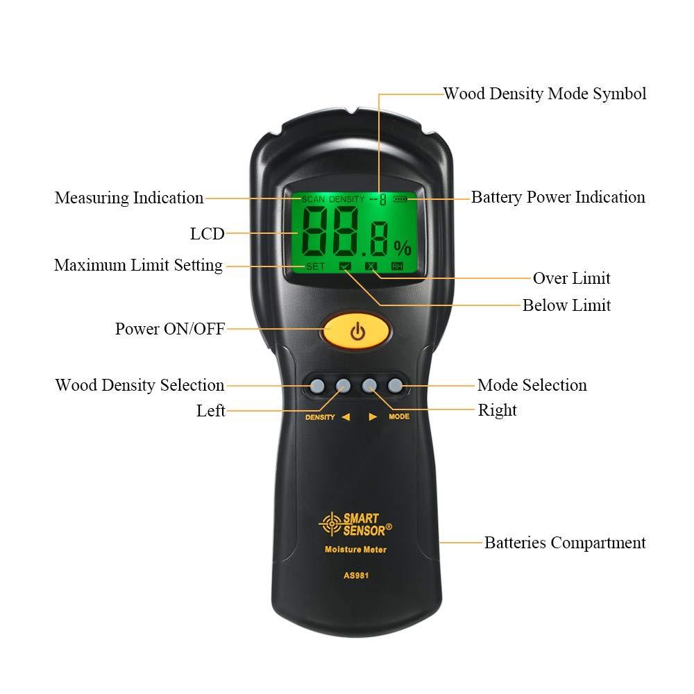 Digital hygrometer Moisture Meter for wood/cardboard Lumber Humidity Tester Fast & Precise Microwave Measurement LCD display by SMART SENSOR (Image #5)