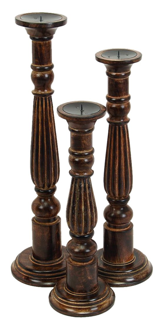 Deco 79 Wood Candle Holder, 24 by 21 by 18-Inch, Walnut Oil Finish, Set of 3 by Deco 79 (Image #1)