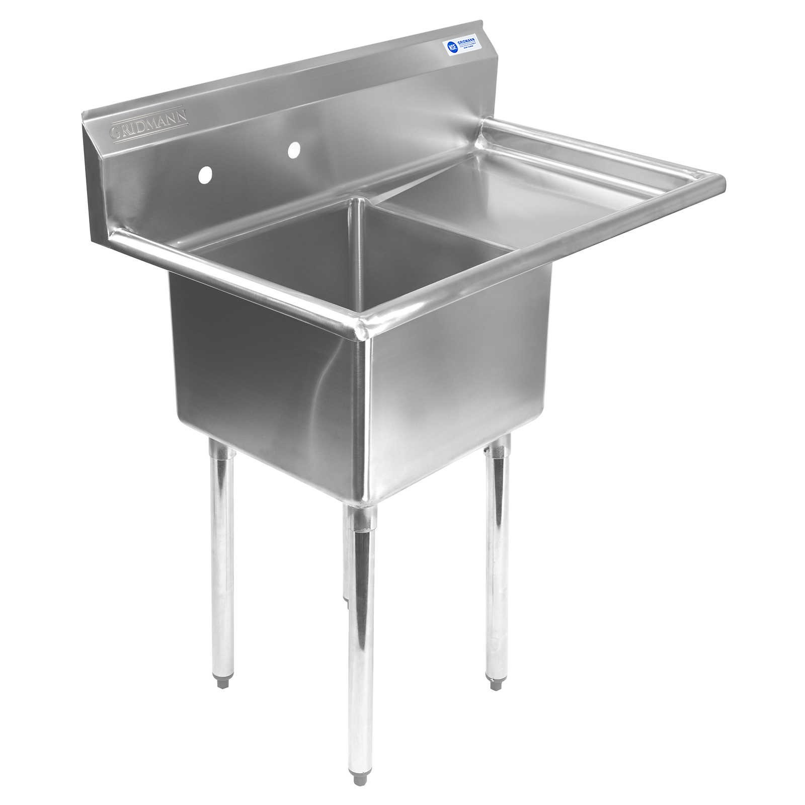 Gridmann 1 Compartment NSF Stainless Steel Commercial Kitchen Prep & Utility Sink w/ Drainboard - 39 in. Wide by Gridmann