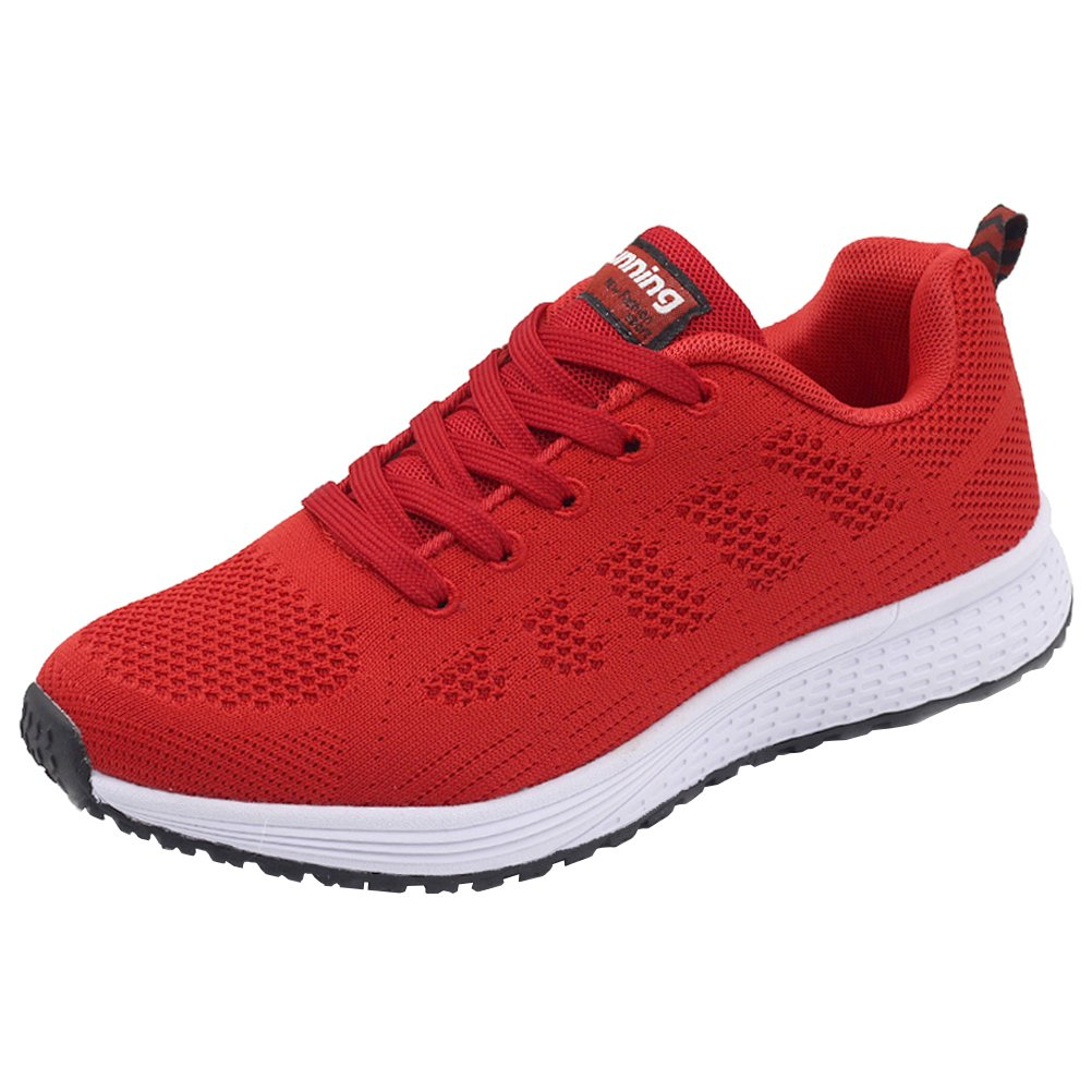JARLIF Women's Breathable Fashion Walking Sneakers Lightweight Athletic Tennis Running Shoes (9.5 B(M), Red)