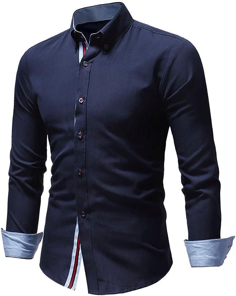 BaZhaHei Hombre Camisa Manga Larga Slim Fit S-2XL Camiseta de Manga Larga con Panel Delgado para Hombre Camisa de Vestir con Corte Slim y Formal en otoño Casual Top Blusa de Hombre: