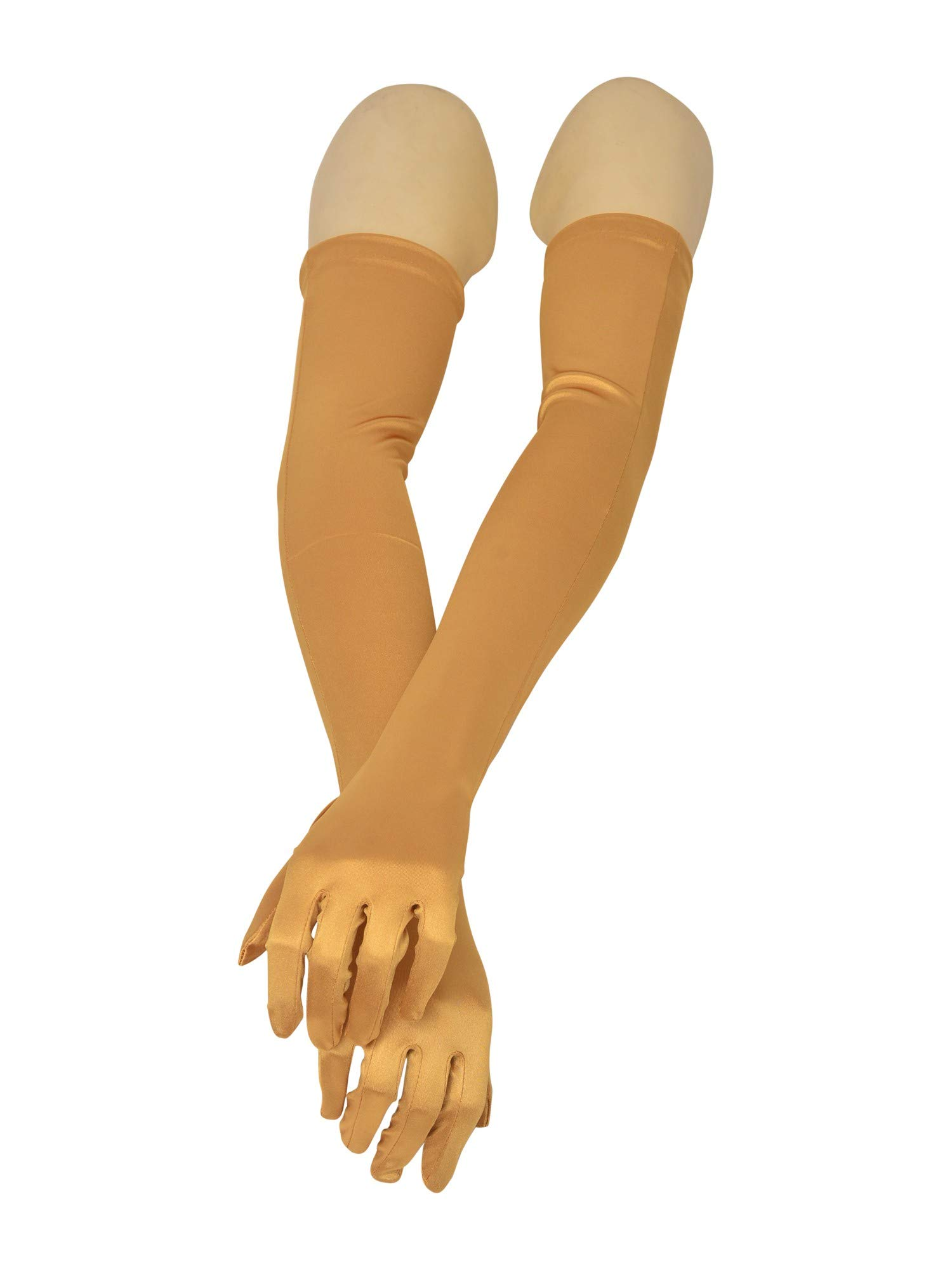 Big Girls Adult Gold Satin Opera Length Special Occasion Gloves by Futuron (Image #1)