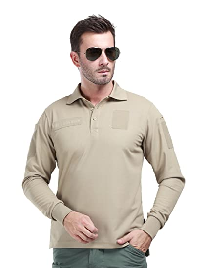 7ce406fd176a FREE SOLDIER Men Shirts Long Sleeve Polo Shirt with Pocket 100% Coolmax  Fabrics Breathable Shirt