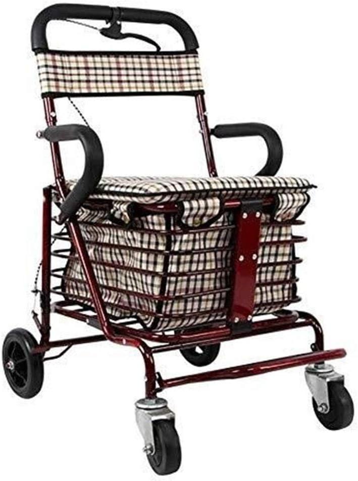 LWDDT Andador Bicicletas Ancianos, Luz Cesta De La Compra Carro De Transporte De Carga Máxima De 150 Kg Rojo Sola Rueda