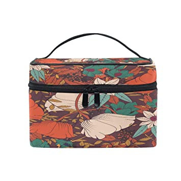 f8014f49388c Travel Makeup Bag Portable Traditional Kimono Motifs ... - Amazon.com