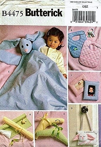 Butterick 4475 Sewing Pattern Makes Baby Gifts Buny Blanket Buddy Bibs Frames, Door Sign Padded Hangers and Changing Mat