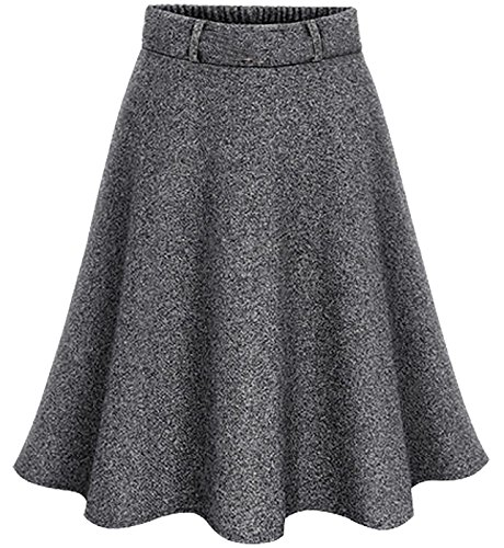 FEOYA Women's Crepe Flare Midi Skirt Girls Retro Knee-Length Textured A Line Pleated Skirt Gray (Crepe Pleated Skirt)
