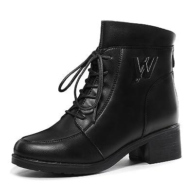Damen Winter Retro Stil Schnüren Langschaft Stiefeln Blockabsatz  Reißverschluss auf dem Rück Schuhe Schwarz Größe 39 3883ea276a