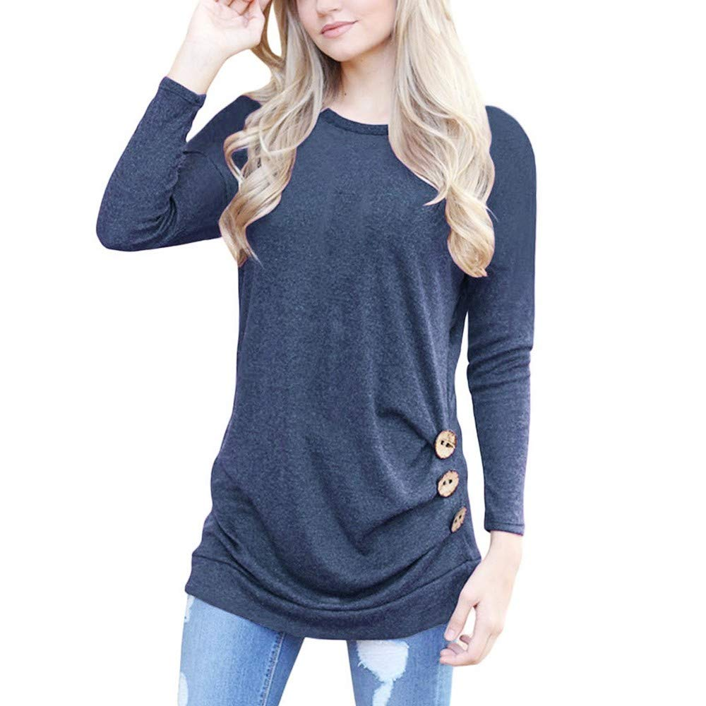 TOTOD Clearance, Womens Tunic T-Shirt Jumper Pullover Women Long Sleeve Loose Button Trim Solid Blouse TOTOD-A