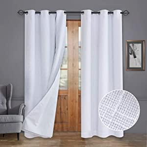 Rose Home Fashion Primitive Linen Look, 100% Blackout Curtain(with Liner), White Blackout Curtains&Thermal Insulated Curtains for Living Room/Bedroom,Burlap Curtains-42x96, White, Set of 2 Panels