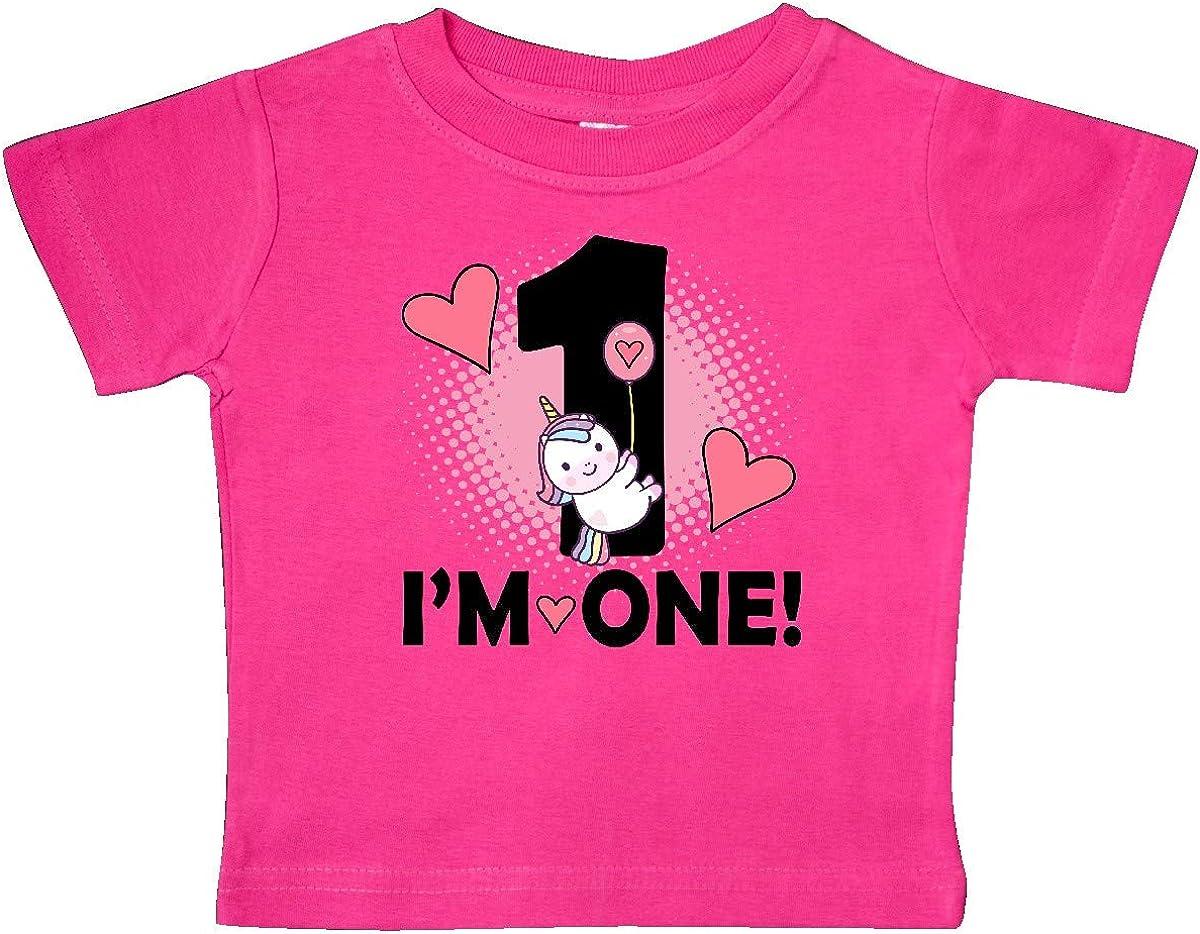 inktastic First Birthday 1 Year Old Girl Unicorn Baby T-Shirt